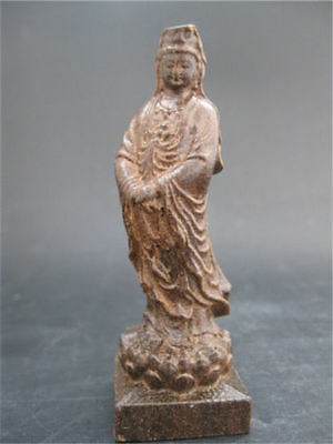 Delicate Chinese Hand Carved Guanyin Eaglewood Wood Statue