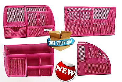 Mesh Desk Supplies Organizer 6 Compartments Office Accessories Caddy Drawer Pink