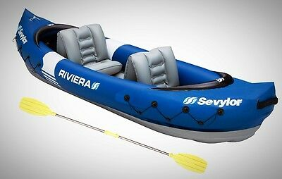 Inflatable 2 Person Kayak Lightweight Compact Backpacking Paddles Lake River New