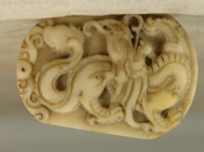 Highly Detailed Antique Chinese Carved Stone White Tiger Amulet, Seal, Shoushan