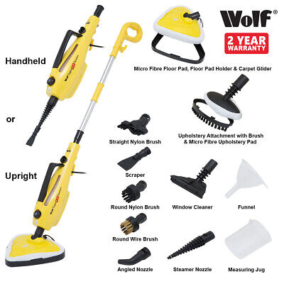 Wolf 1500 watt H2OT 10 in 1 Steamer Floor Carpet Steam Cleaner Mop Hand Held