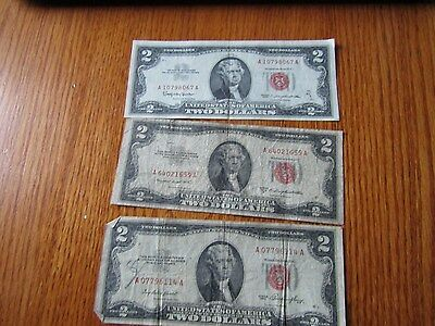 Old Estate Lot Three Notes Red Seal Two Dollar Bills 1953, 1963
