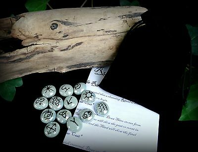 13 Witches Runes and Bag Grey and Black Witch Wicca pagan Gift