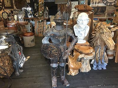 Medieval Knight Suit Of Armor Medium Body Stand Rustic Shield
