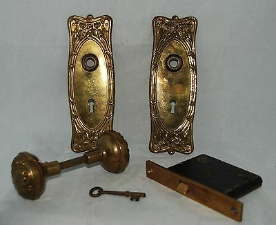 Antique Vintage Ornate Brass Door Knob Set with Mortise Lock with Key