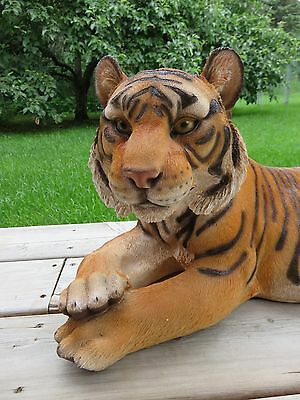 TIGER FIGURINE LYING DOWN STATUE 28 in. AFRICAN ANIMAL JUNGLE HOME DECOR CAT