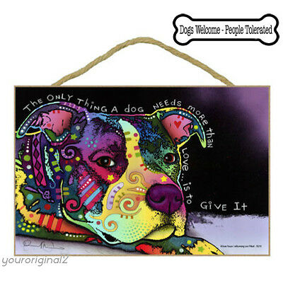 Rainbow Pit Bull Love Dog Sign Wood Poster Art Dean Russo Decor FREE Car Magnet