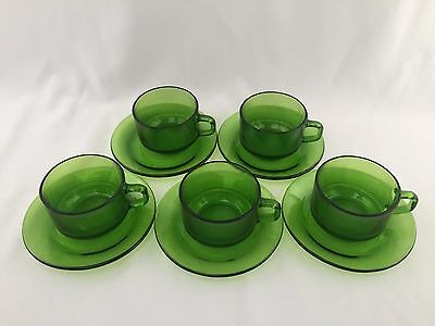 Vintage Retro 1970's Durax Green Glass Coffee Tea Cups And Saucer Set Glassware