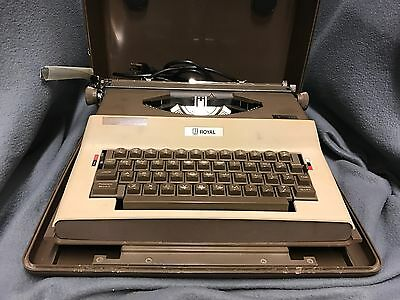 Vintage Royal Litton SP-8500 Beige Brown Electric Typewriter w/ Case Works