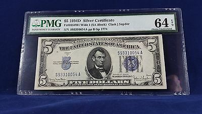$5 1934D Silver Certificate Note Wide I PMG 64 EPQ Fr 1654Wi SA Block Choice UNC