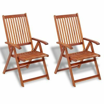 2 pcs Outdoor Garden Folding Dining Chair 5 Positions Acacia Wood Patio Terrace