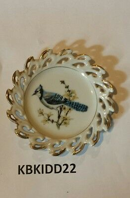 "Blue Jay 5"" Mini Porcelain Plate Vintage Free Shipping"