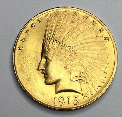 1915 $10 Gold Indian Head Eagle Coin