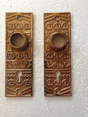 B 75 Antique Cast Brass Or Bronze Back Plates. Fancy, Cleaned And Lacquered