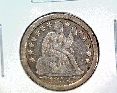 Seated Liberty Dime 1853 Arrows Very Good Details Damaged 90% Silver