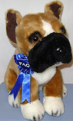 "FAO Schwarz 10"" Blue Ribbon Boxer Brown Plush 2012"