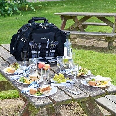 Picnic Bag Set 6 Person Complete Fleece Cutlery Plates Lunch Bottle Holdall NEW