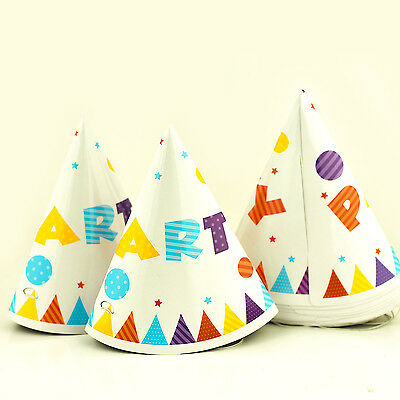 10 X Happy Birthday Party Multicolours - Paper Cone Hats Fun Game Blue