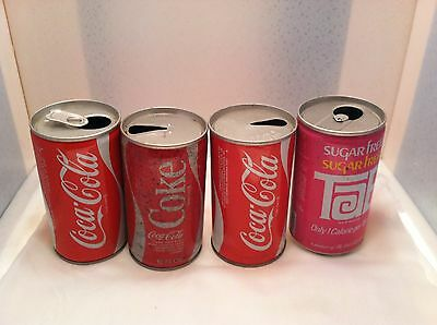 lot of 4 different Coca-Cola Coke soda cans - different cities