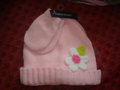 Baby Toddler Girls Knit Hat Pink Set Gloves Mittens NEW Flowers White Lot Leaf
