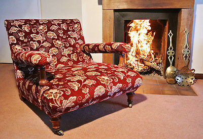 Rare Holland and Sons Walnut Fireside Chair c. 1845