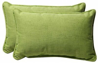 Pillow Perfect Textured 2-Pack Lime Solid Rectangular Outdoor Decorative Pillow