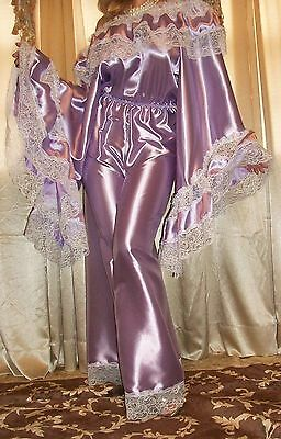 Vtg New Lilac Sweep Satin Long Palazzo Pantsuit Slip Jumpsuit Nightgown 1X 2X