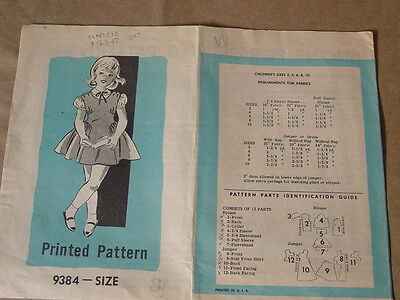 ANTIQUE PATTERN, AMERICAN WEEKLY, BUTTERICK 9384.  CHILD SIZE 8, COMPLETE  1950s