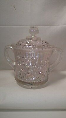 IMPERIAL CARNIVAL GLASS Clear OPEN ROSE Lidded SUGAR or candy dish