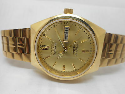rare VINTAGE CITIZEN AUTOMATIC GOLD PLATED GENTS DAY DATE WRIST WATCH RUN ORDER
