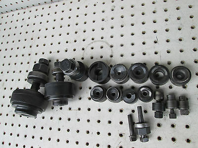 Greenlee radio chassis 730 punch set 1/2 - 2 25/32 lot (15) round radio plus ext