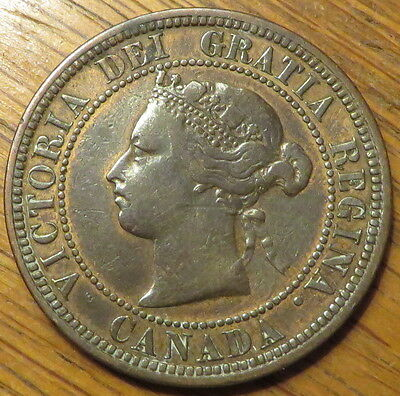 1876-H 1C BN Canada Cent - Extremely Nice Coin - VF - (9241)