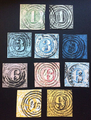 """"""" SCARCE""""  THURN & TAXIS GERMAN STATES Used COLLECTION 10 Stamps HTF"""