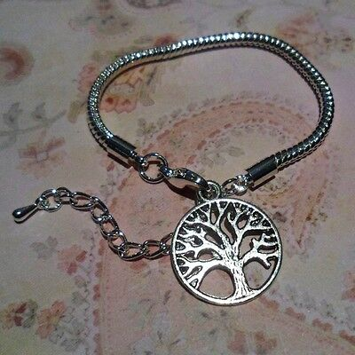 """CHILD LOBSTER CLASP EUROPEAN BRACELET 5.5 - 7.5"""" Silver Tree Of Life"""