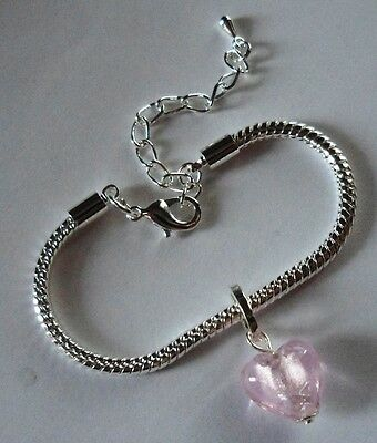"CHILD LOBSTER CLASP EUROPEAN BRACELET 5.5 - 7.5"" Silver with Pink Heart"