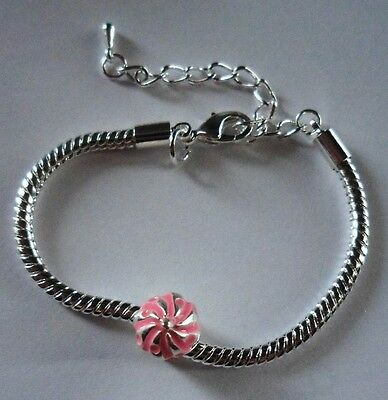 "CHILD LOBSTER CLASP EUROPEAN BRACELET 5.5 - 7.5"" Silver CupCake"