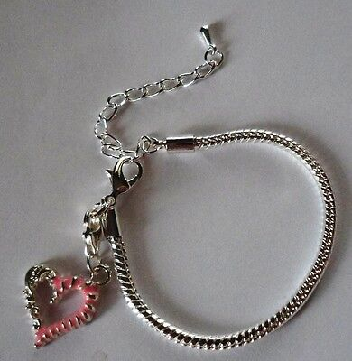 "CHILD LOBSTER CLASP EUROPEAN BRACELET 5.5 - 7.5"" Silver Pink Heart"