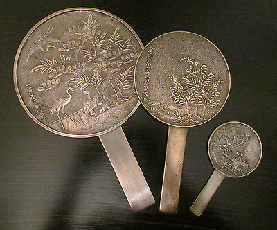 Gorgeous Antique 1800s Japanese Collection of Geisha Hand Mirrors