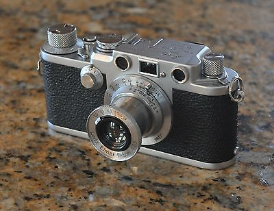 Leica IIIf red dial with 50mm Elmar f3.5 Lens + EXTRAS