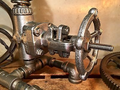 "Vintage NOS Heavy Gauge Valve Steampunk Antique. 1/2"" Drilled Lamp Part"