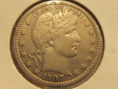 Scarce XF+ 1907-D Barber quarter ... tough to find ( csdc )