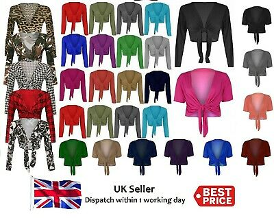 Womens Knot Tie Up Front Shrug Ladies Open Cropped Bolero Short Cardi All Sizes