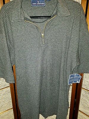 John Ashford Mens Polo Short Sleeve Gray /Black Size Medium 100% Cotton Shirt