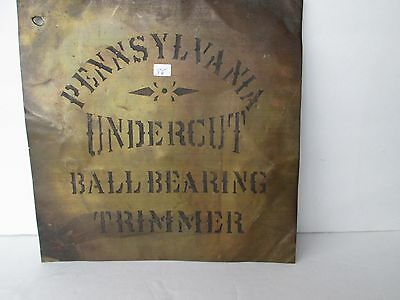 "Antique Brass Advertising Sign ""Pennsylvania Undercut Ball Bearing Trimmer"""