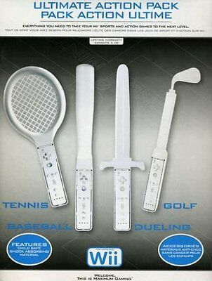 Wii G5679 Ultimate Action Pack Gaming Controller Holders Tennis Sword Golf Bat