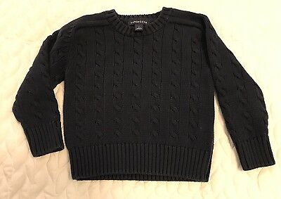 Boys Lands End Navy Blue Cotton Sweater Size Small 4t Crew Cable Knit Chunky