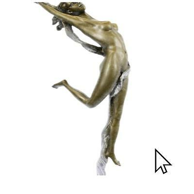 Bronze Sculpture Statue Original Aldo Vitaleh Nude Girl Leaping In Air