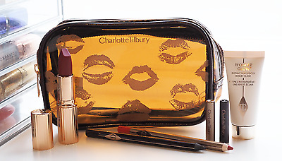 CHARLOTTE TILBURY Makeup Bag ONLY/Cosmetic Case - Brown Vinyl Kisses