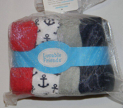 New Luvable Friends Nautical Anchor Red Blue White 24 Washcloths Baby Bath Set