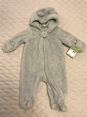 NWT Carters Baby Hooded Sherpa Bunting Suit One Piece Covered Hands 3 month Snow
